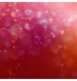 Color Bokeh on red background with hearts EPS 10 vector image