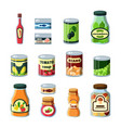 conservation food products in cans flat vector image vector image