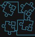 continuous one line puzzle neon icon concept vector image