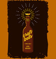craft beer retro poster vintage sign with bottle vector image vector image