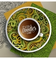 Cup of coffee and hand drawn curls nature doodles vector image vector image