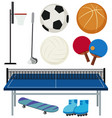 different sport equipments on white background vector image