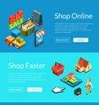 e-shopping banners isometric online vector image