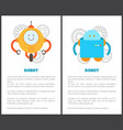 fantastic mechanical robots with limbs and faces vector image vector image