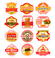 fast food icons for fastfood restaurant vector image vector image