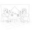 fat people in the restaurant vector image