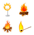 fire icon set cartoon style vector image vector image