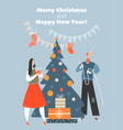 funny characters decorate christmas tree vector image vector image