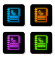 glowing neon phone book icon isolated on white