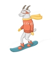 goat on a snowboard isolated object vector image