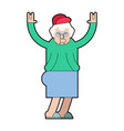 grandmother cool grandma rock hand sign old lady vector image vector image