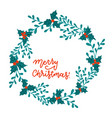 greeting card with christmas wreath holly vector image