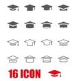 grey academic cap icon set vector image vector image