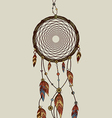 Hand drawn native american dreamcatcher vector image