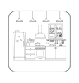 Kitchen line interior vector image vector image