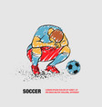 loser soccer player squatted on his haunches and vector image