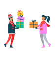 man and woman holding christmas presents in hands vector image