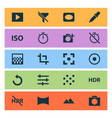 photo icons set with photographing pattern tune vector image vector image