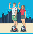 pop art couple riding solowheel in the city vector image
