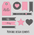printable design elements for scrabookng blog and vector image vector image