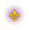 Royal french lily icon in comics style vector image