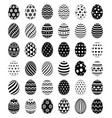set easter eggs with patterns symbol icons vector image vector image