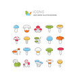 set line icons mushrooms vector image vector image