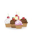 set of birthday cupcakes vector image vector image