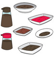 set of condiment bottle and condiment dish vector image