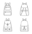 set of outlines of backpacks vector image
