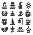 spa icons set on white background vector image vector image