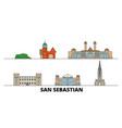 spain san sebastian flat landmarks vector image vector image
