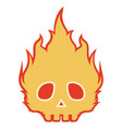 spooky skull on fire icon vector image