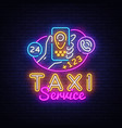 taxi service neon signboard taxi online vector image vector image