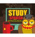 Teacher owl recommending course of Spanish vector image vector image