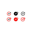 twenty-one years over icon set on isolated white vector image vector image