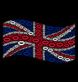 waving uk flag collage of sexy lips items vector image