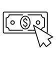web money click icon outline style vector image vector image
