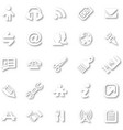 white minimalist icon set vector image