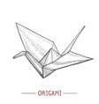 origami paper crane in hand drawn style vector image