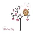 Postcard Happy Valentines Day Fanny owl vector image