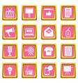 advertisement icons pink vector image vector image