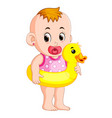 baby happy wearing buoy duck vector image