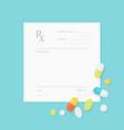 Blank Medicine Prescription Form and Pills vector image