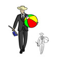 businessman with hat holding big beach ball vector image