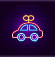 car toy neon sign vector image vector image