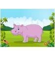 Cartoon big hippo vector image vector image
