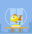 cartoon cute golden fish in bowl vector image
