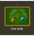 case study studies icon flat laptop magnifier vector image vector image