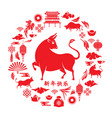 chinese new year 2021 round design with ox vector image
